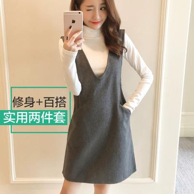 恩黛 2016秋冬韩版女装两件套高领长袖针织衫+毛呢连衣裙 Q047F6807