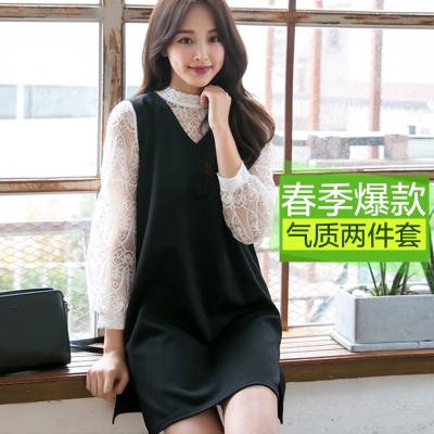 恩黛 2017春新款韩版中长款针织连衣裙+镂空蕾丝衫两件套 Q047F6813