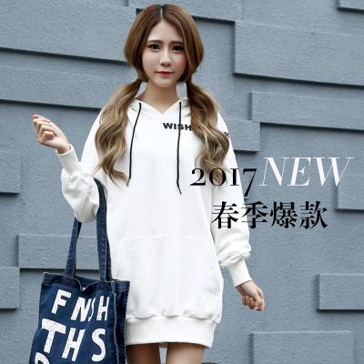 J.S.YU 2018春新款韩版时尚套头潮流中长款卫衣 JS6049