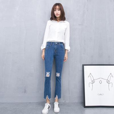梦之彩 2017韩版春夏破洞潮女弹力微叭裤 3268