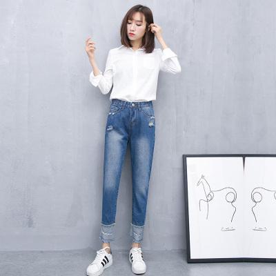 梦之彩 2017春季韩版无弹宽松牛仔破洞裤 3269