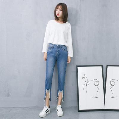 梦之彩 2017韩版春季新品宽松牛仔破洞直筒裤 3271