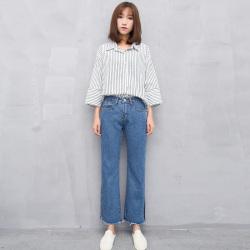 梦之彩 2017春夏新品宽松牛仔喇叭裤 3273