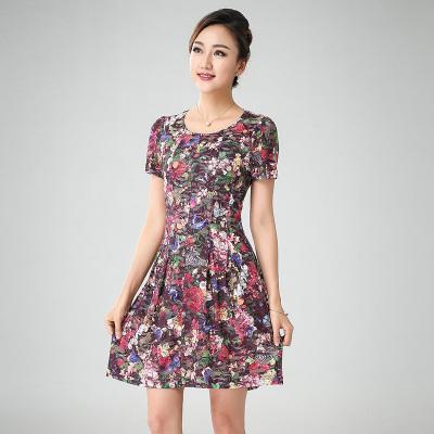 丝缔曼 女装夏装中袖中年妇女妈妈装连衣裙 62041