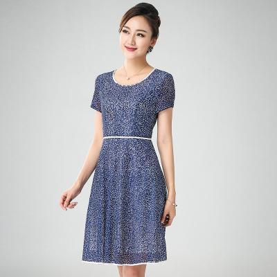 丝缔曼 女装夏装中袖中年妇女妈妈装连衣裙连衣裙 62045