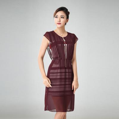 丝缔曼 女装夏装中袖中年妇女妈妈装连衣裙连衣裙 62105