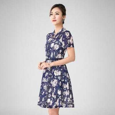 丝缔曼 女装夏装中袖中年妇女妈妈装连衣裙连衣裙 62106