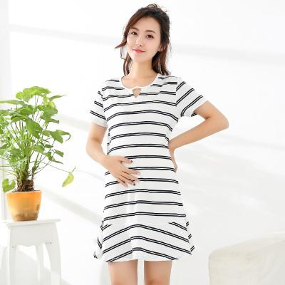 Enjoy Sleeping 2017夏季新款短袖条纹纯棉孕妇裙 ES17183