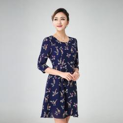 丝缔曼 女装夏装中袖中年妇女妈妈装连衣裙连衣裙 72009