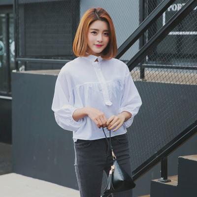 蕾芭格 2017春装新款宽松衬衫女长袖雪纺衫白衬衣百搭上衣显瘦寸1709