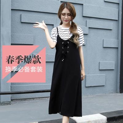J.S.YU 2017秋季新款韩版时尚潮流上衣+T恤简约长裙套装 JS8052