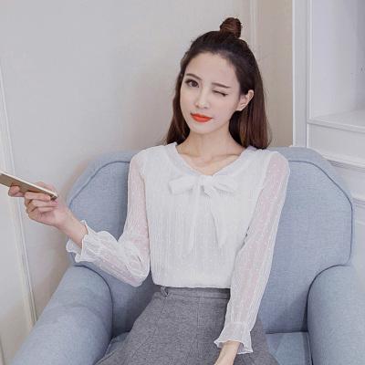 素裁 2017春新款女装韩版系带立领长袖波点压花套头衬衫 0813