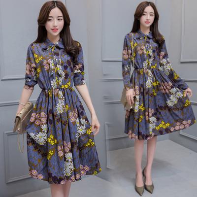 布桂坊2017春季新款韩版修身中长款连衣裙新品连衣裙
