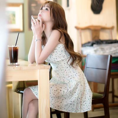 恩黛 2017新款韩国碎花棉清新裙弹力收腰显瘦吊带短裙子Q047F6666