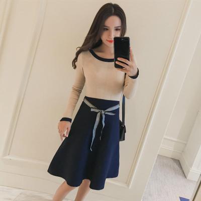 蓝莓家  2017新款韩版女装蝴蝶结系带拼接连衣裙打底针织裙   1104