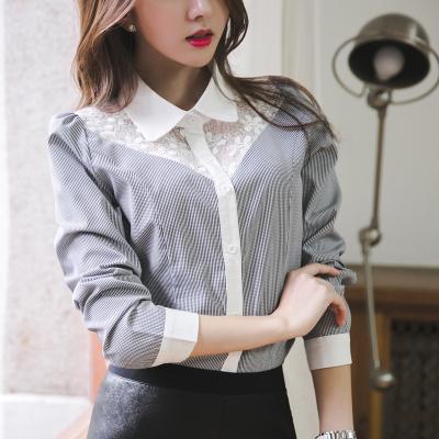 恩黛 2017新款实拍衬衫女装上衣韩范衬衣修身蕾丝长袖打底衫 Q047F6782