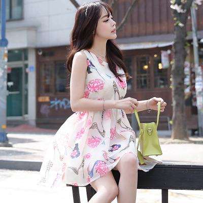 恩黛 2017新款韩版甜美欧根纱无袖印花连衣蓬蓬裙 Q047F6695