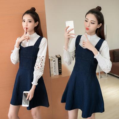 蓝莓家  2017新款韩版甜美显瘦a字套装裙长袖衬衫+牛仔背带  5112