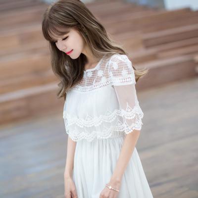 实拍2016夏装连衣裙韩版修身蕾丝花边披肩假两件雪纺长裙F6628