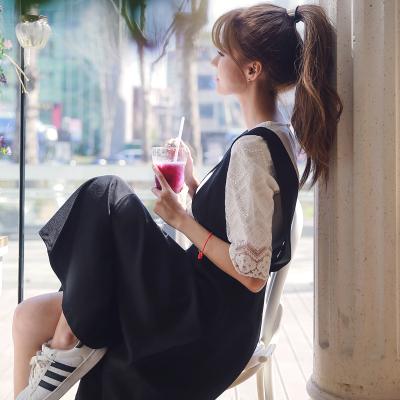 恩黛 2017新款甜美学院风两件套蕾丝上衣+显瘦背带连衣裙 Q047F6687