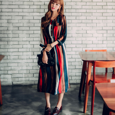 【预售款】恩黛 2017新款彩色条纹高腰显瘦复古雪纺连衣裙女a型裙 Q047F6753
