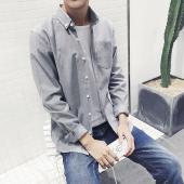 阁调 2017春季新品男装简约纯色牛津纺休闲衬衫港风潮男寸衫  C128