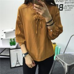 素裁 2017春装新款韩版棉麻T恤女修身显瘦纯色亚麻长袖衬衫 6808
