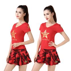 """新款军迷水兵舞<span class=""""gcolor"""">T恤</span>女士红色前后V新款领五角星莫代尔<span class=""""gcolor"""">短袖</span>演出服"""