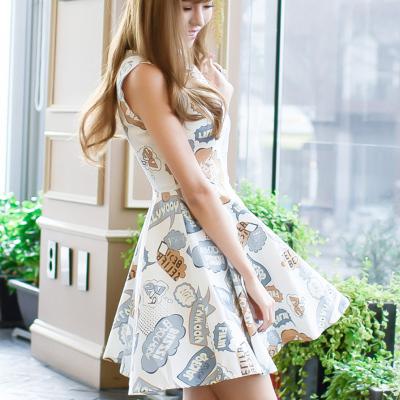 恩黛2017夏新款女装韩版无袖印花连衣裙女显瘦A字短裙子夏季潮Q047F6876