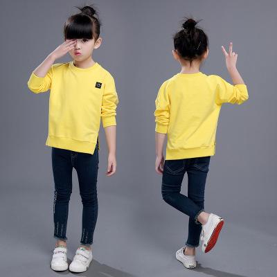 童装 2017春季新款韩版女童中大童时尚圆领笑脸长袖卫衣