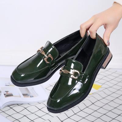 2017春季韩版小皮鞋女英伦复古豆豆鞋女方头粗跟低跟金属扣单鞋女