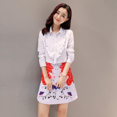 布桂坊2017春季新款韩版时尚重工刺绣长袖衬衣修身A字短裙时尚套装裙