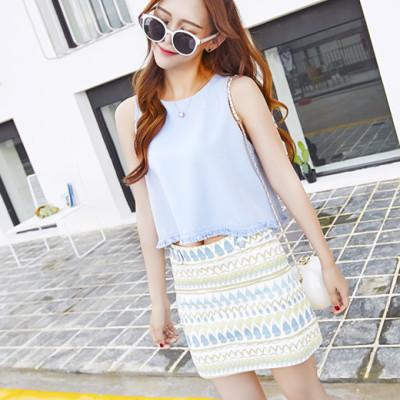蓝莓家 新款韩版流苏边纯色上衣几何图案A字裙短裙套装 1655