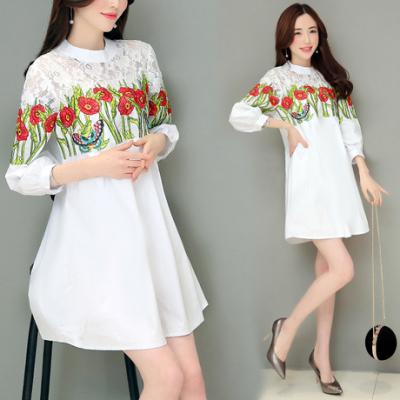 布桂坊2017春季新款韩版修身春季新品刺绣衬衣