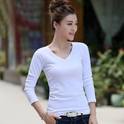 金丽都 2017新款棉长袖T恤韩版女装V领打底衫修身显瘦纯色百搭 96100