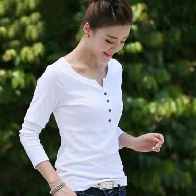 金丽都 2017春新款韩版长袖T恤修身V领薄款纯棉女装纯白色体恤打底衫 96101