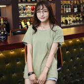 2018 春夏季新款韩版时尚套头圆领纯色百搭学生潮流T恤  JS7A118