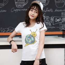 "J.S.YU 2017夏新款韩版时尚修身小蜗牛套头潮流<span class=""gcolor"">短袖T恤</span> JS7A124"