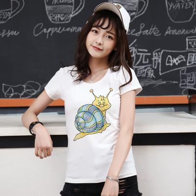 J.S.YU 2017夏新款韩版时尚修身小蜗牛套头潮流T恤 JS7A124