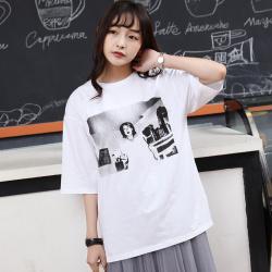 "J.S.YU 2017夏新款韩版套头时尚双面宽松百搭超有范<span class=""gcolor"">短袖T恤</span> JS7A104"