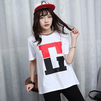 J.S.YU 2017夏新款韩版时尚宽松套头罗纹领G字母短袖T恤  JS7A109