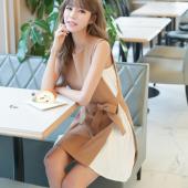 恩黛 2017新款时尚气质百褶雪纺拼接连衣裙 收腰显瘦背心裙 Q047F6859