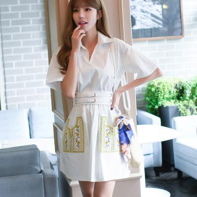 恩黛 2017夏新款重工刺绣衬衫裙收腰显瘦气质白色连衣裙 Q047F6872
