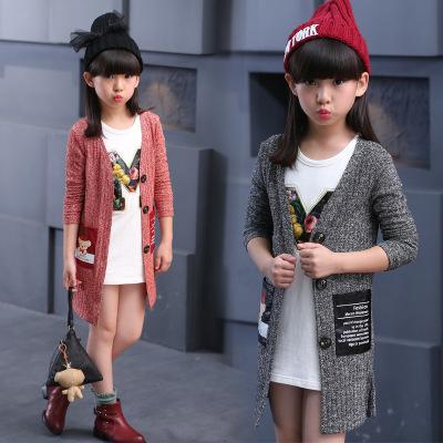 2017春季新款韩版 女童中大童时尚卡通小熊针织开衫 潮