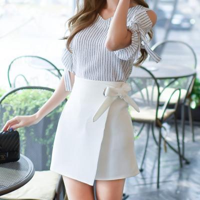 恩黛2017夏装新款高腰女一步裙韩版不规则百搭半身裙系带包臀裙Q047F6893