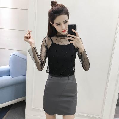 素裁 2017春季韩版新百搭立领性感透视珍珠网纱打底衫两件套女 9927
