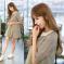 恩黛 2017新款韩版青春五分袖娃娃领荷叶边A字连衣裙 Q047F6836