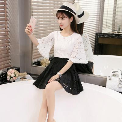 蓝莓家 2017春夏秋款女装甜美显瘦蕾丝衫镂空蓬蓬裙两件套连衣裙 1015