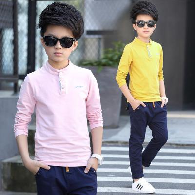 童装 2017春季新款韩版 男童中大童立领针织打底衫 纯色上衣