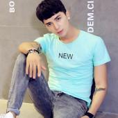 阁调  2017新款夏季男短袖T恤潮字母修身纯棉圆领大码体恤衫 青少年半袖韩版  8806
